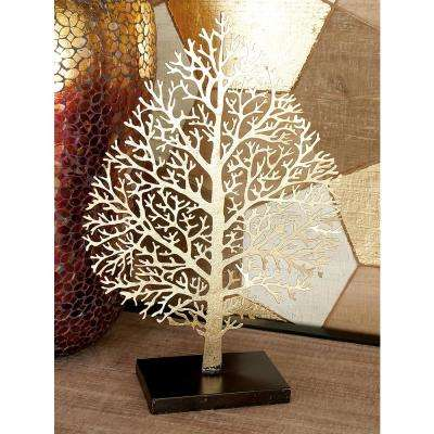 16 in. Iron Metal Gold Leaf with Cutout Veining Sculpture
