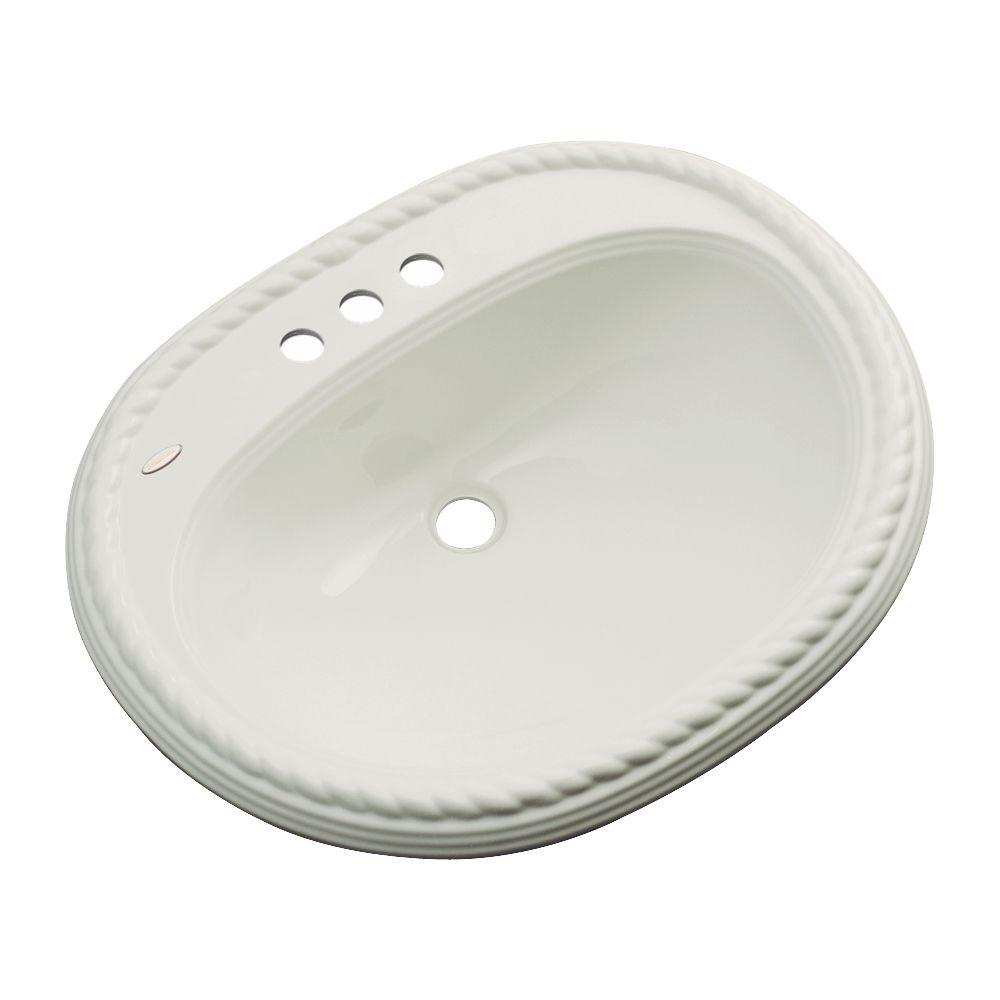 Malibu Drop-In Bathroom Sink with Faucet Hole in Tender Gray