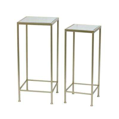 27.75 in. Champagne Metal/Mirrored Table (Set of 2)