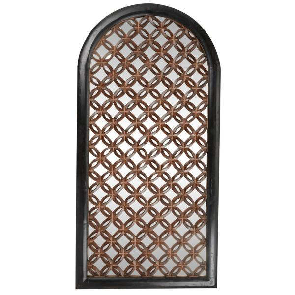 Tall Arched Black Wood Wall Mirror With Rusted Bronze Carved Pattern Inlay, 36 in. x 72 in.