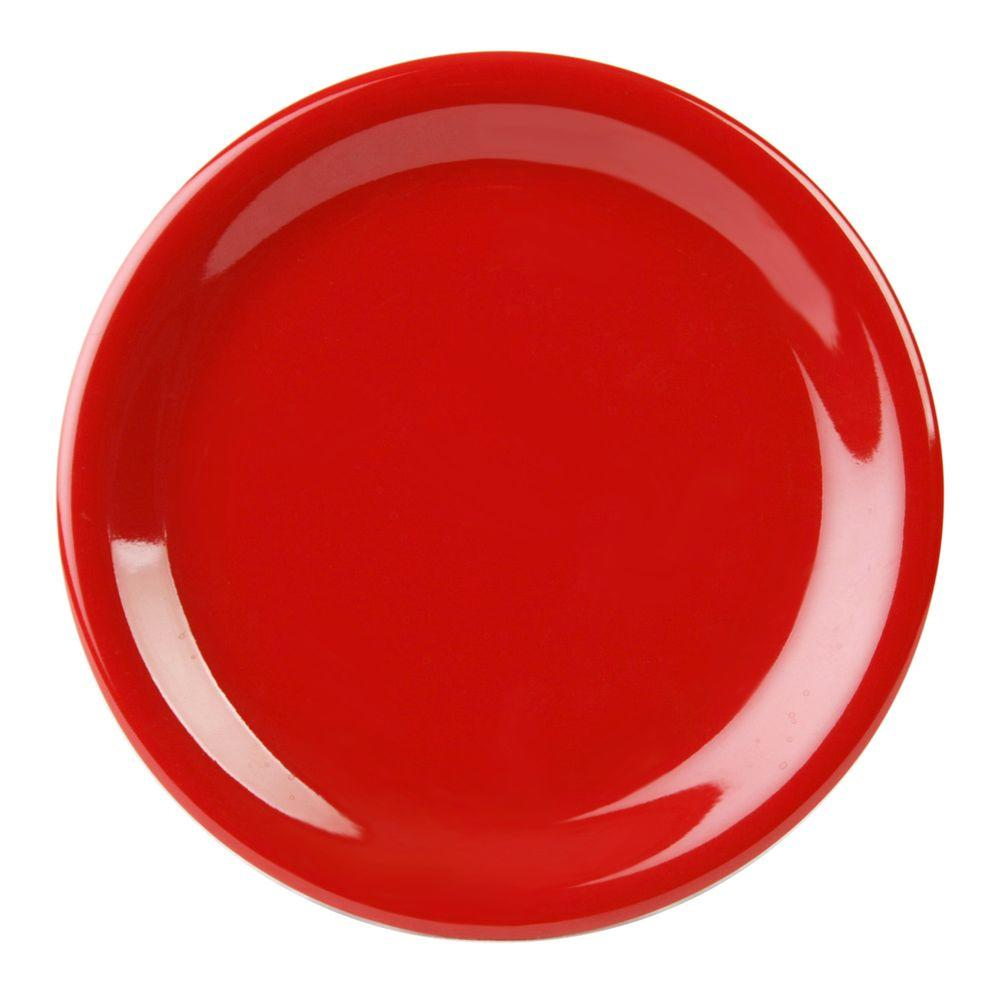 Restaurant Essentials Coleur 10-1/2 in. Narrow Rim Plate in Pure Red (12-Piece)