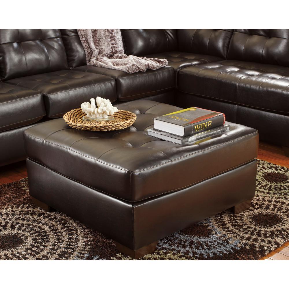 Flash Furniture Signature Design By Ashley Alliston Chocolate Durablend Oversized Ottoman