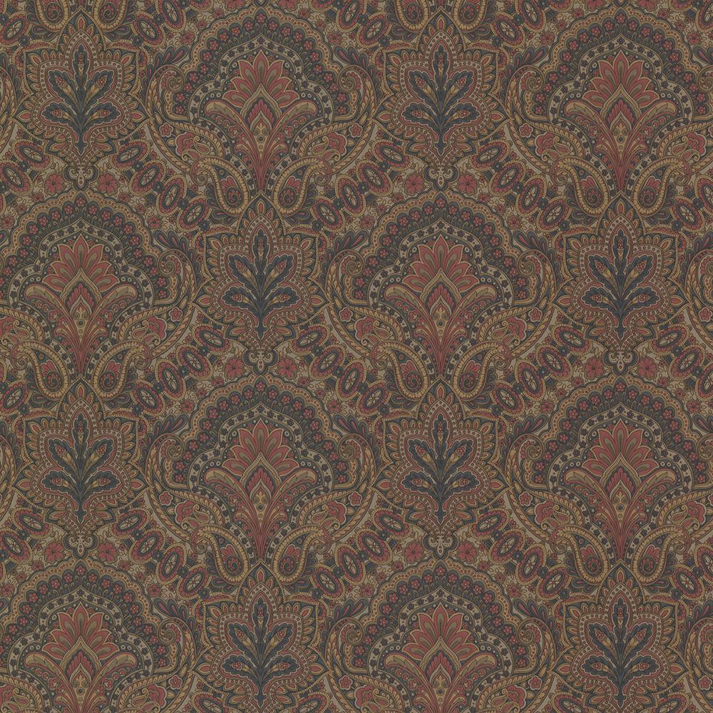 56.4 sq. ft. Cypress Ink Paisley Damask Wallpaper