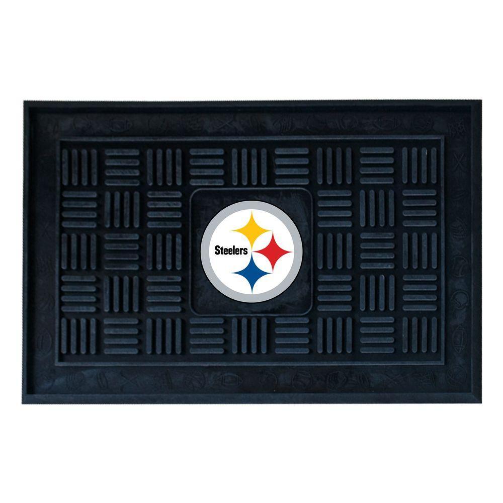 NFL Pittsburgh Steelers Black 19 in. x 30 in. Vinyl Outdoor Door Mat
