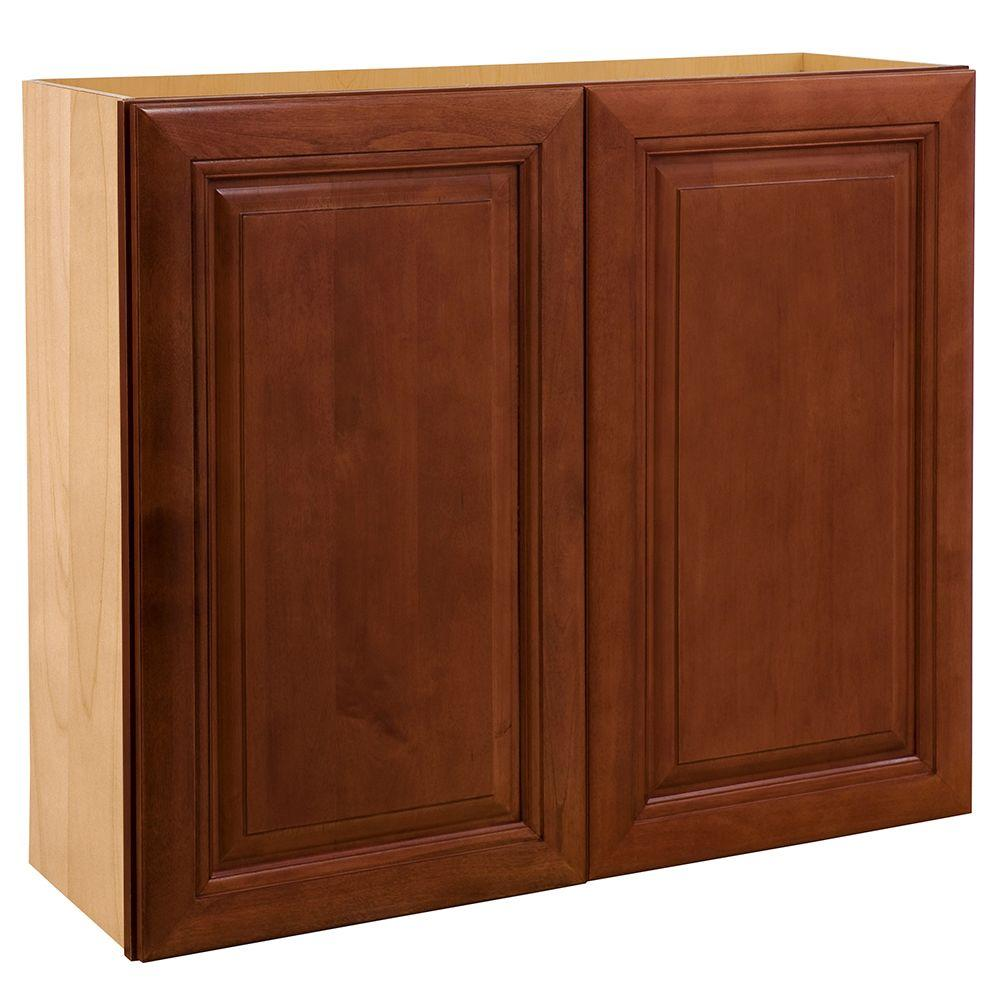 Home Decorators Collection 30x30x12 in. Lyndhurst Assembled Wall Double Door Cabinet in Cabernet