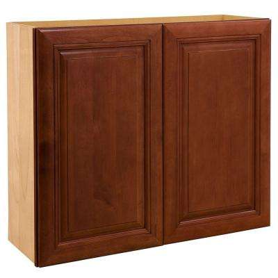 Lyndhurst Assembled 24x36x12 in. Double Door Wall Kitchen Cabinet in Cabernet