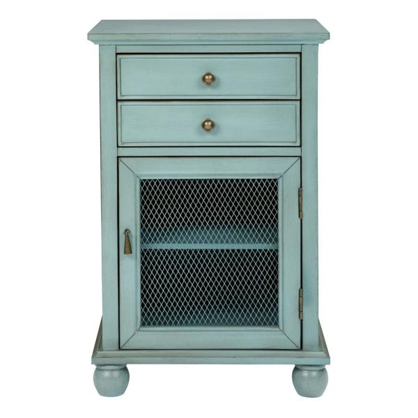 OSP Home Furnishings Alton Antique Steel Blue Fully Assembled Storage Cabinet