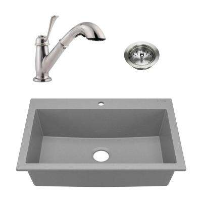 Camille All-in-One Drop-In Granite 33 in. 1-Hole Single Bowl Kitchen Sink with Faucet and Strainer in Matte Gray