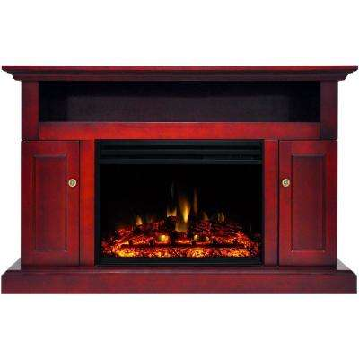 Sorrento 47 in. Electric Fireplace Heater TV Stand in Cherry with Enhanced Log Display and Remote Control