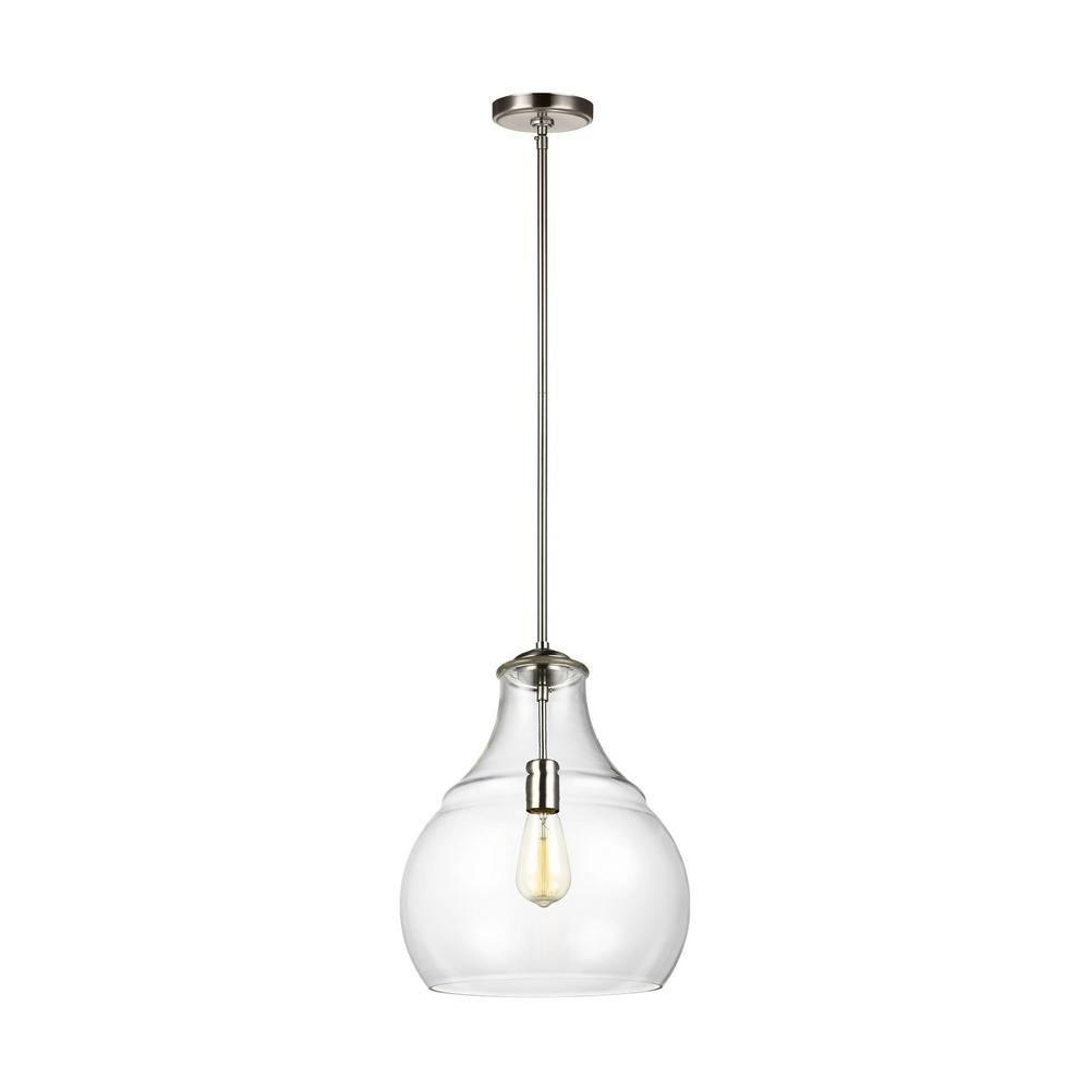 Sea Gull Lighting Zola 1 Light Satin Nickel Pendant With