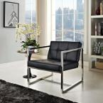 Hover Black Upholstered Vinyl Lounge Chair