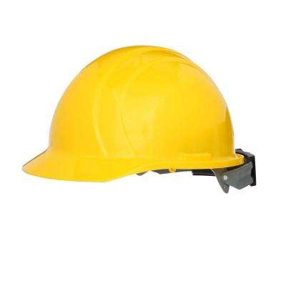 4 Point Plastic Suspension Mega Ratchet Cap Hard Hat in Yellow