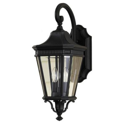 Cotswold Lane 2-Light Black Outdoor 20.5 in. Wall Lantern Sconce