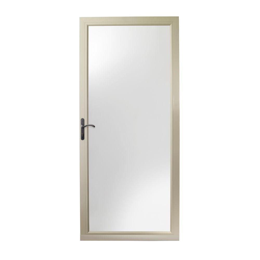 36 in. x 80 in. 3000 Series Sandtone Left-Hand Fullview Easy Install Aluminum Storm Door with Oil-Rubbed Bronze Hardware