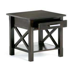 Kitchener Solid Wood 21 in. Wide Square Contemporary End Side Table in Dark Walnut Brown