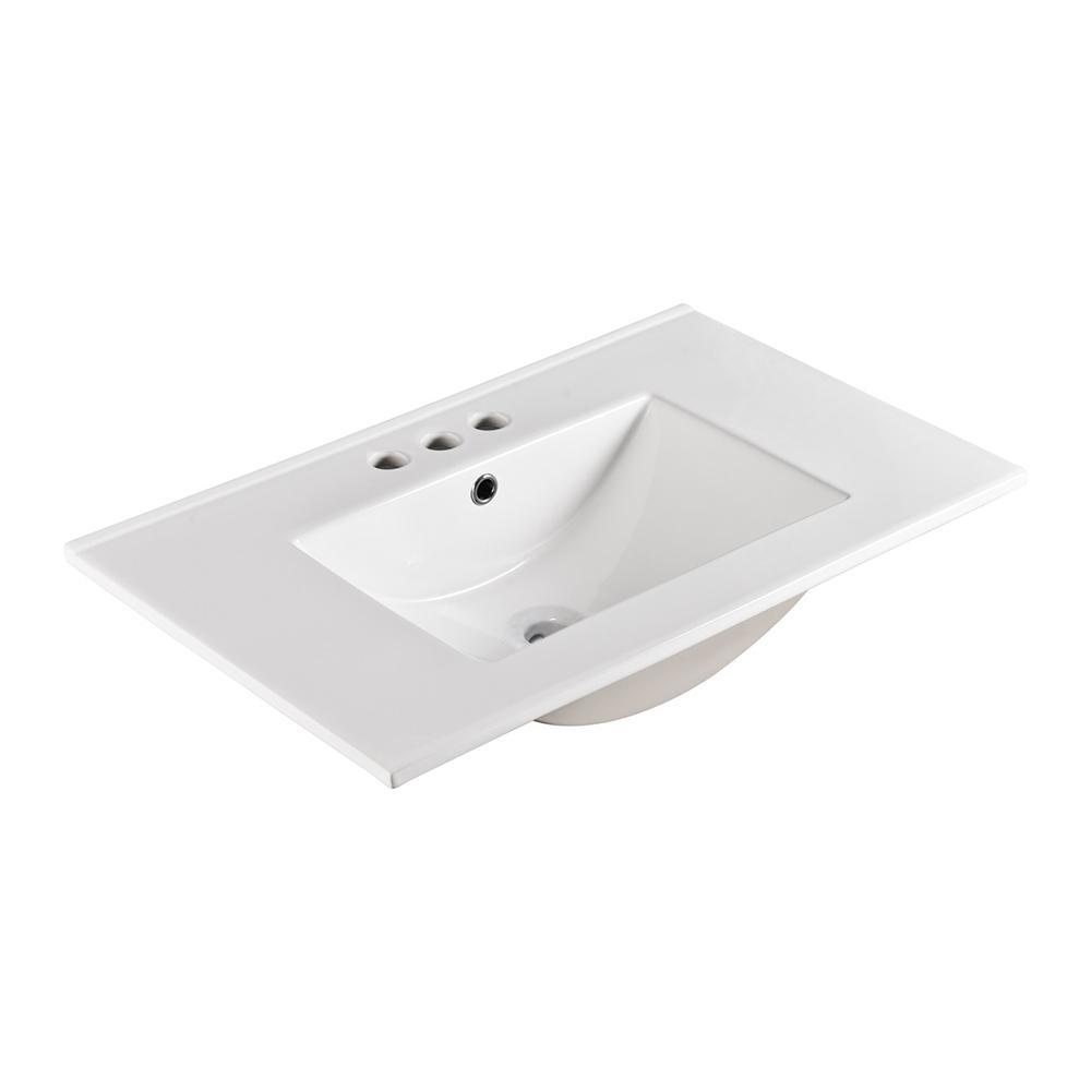 Bellaterra Home Serres 30 in. Drop-In Ceramic Bathroom Sink in White