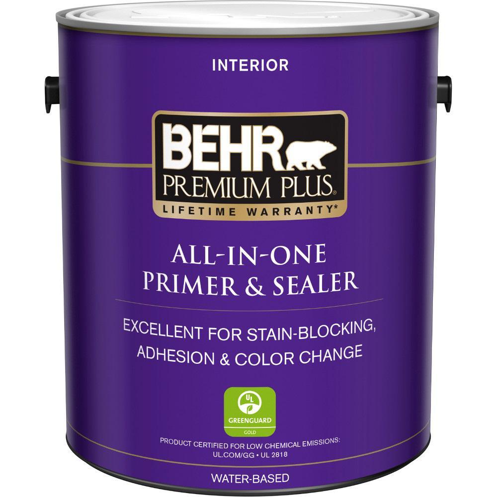 BEHR Premium Plus 1 gal. White Acrylic Interior Primer, Sealer, and Stain Blocker