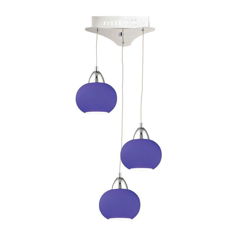 Titan Lighting Ciotola 3-Light Chrome LED Pendant with Blue Glass