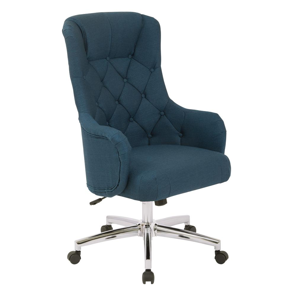 OSP Home Furnishings Ariel Azure Desk Chair, Blue Cozy home office. Get the function of a traditional desk chair, combined with the style of a plush accent chair, all in one with this comfortable office chair. You'll love the supportive, high back and padded cushion seat while you carry out your tasks for the day. Plus with the adjustable height base you can always find your comfort zone. Get the style you crave in your home office with the Ariel desk chair. Color: Azure.