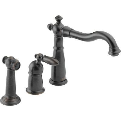 Victorian Single-Handle Standard Kitchen Faucet with Side Sprayer in Venetian Bronze