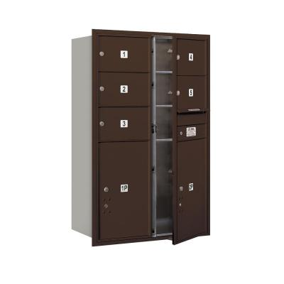 3700 Horizontal Series 5-Compartment with 2-Parcel Locker Recessed Mount Mailbox