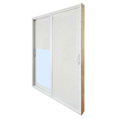 72 in. x 80 in. Double Sliding Patio Door with Internal Mini Blinds