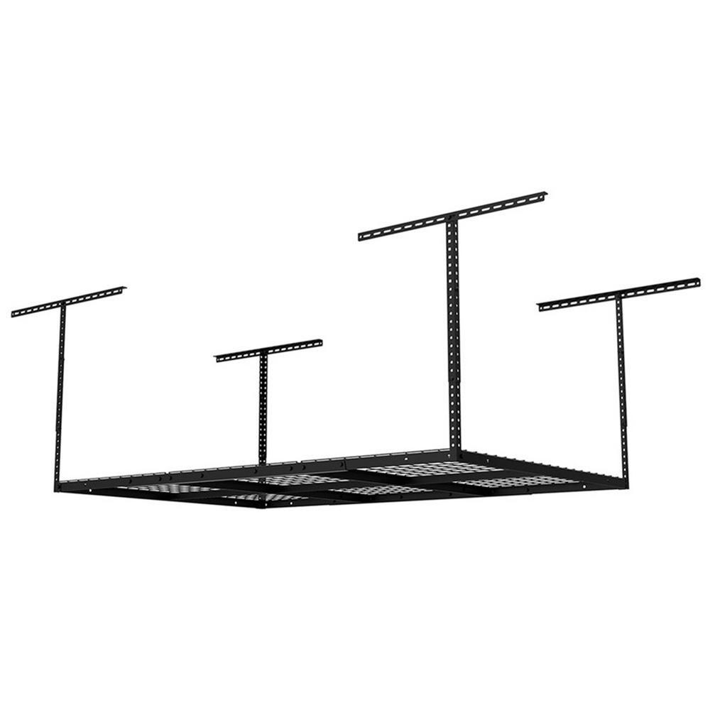 FLEXIMOUNTS 6 ft. x 4 ft. Heavy-Duty Overhead Garage Adjustable Ceiling Storage Rack in Black