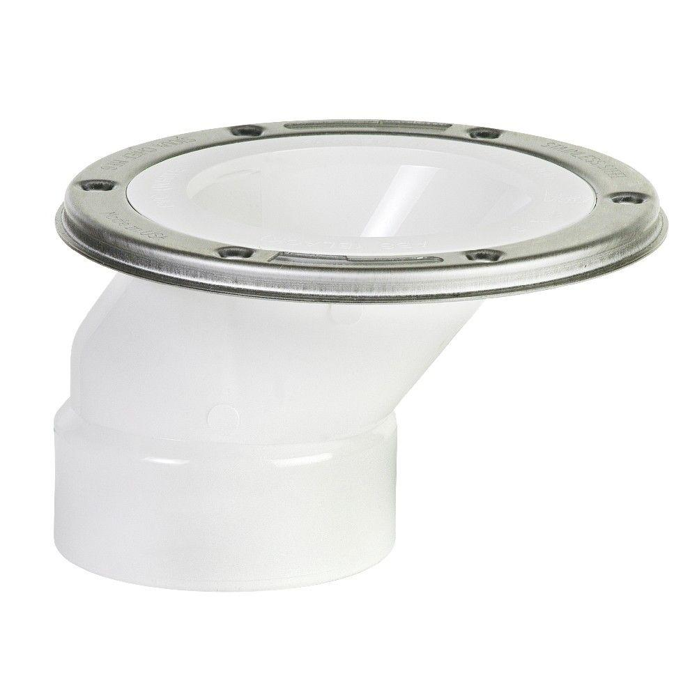 null 3 in. x 4 in. PVC Adjustable Metal Ring DWV Offset Closet Flange