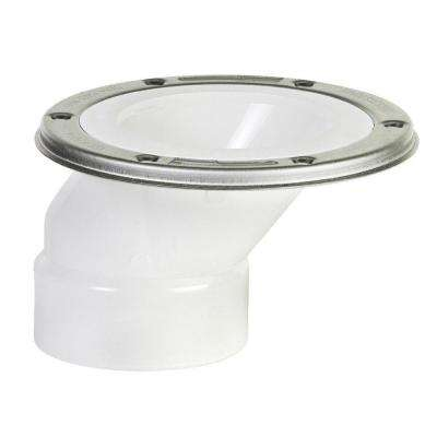 3 in. x 4 in. PVC Adjustable Metal Ring DWV Offset Closet Flange