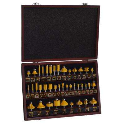 9.25 in. Steel Router Bit Set in Wood Box (40-Piece)
