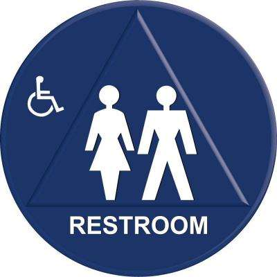 12 in. x 12 in. Blue Plastic Circle Triangle Restroom Sign