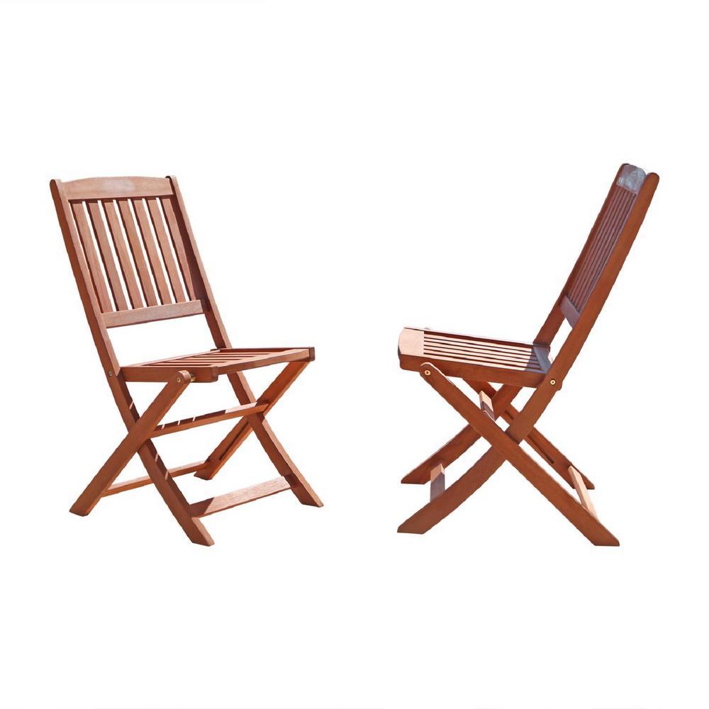 Vifah malibu folding wood outdoor dining chair 2 pack for Outdoor wood dining chairs