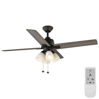 Malone 54 in. Bronze LED Ceiling Fan with Light Kit Works with Google Assistant and Alexa