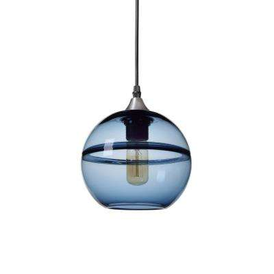 "7 in. H 1-Light Unique Optic Contemporary Silver ""DoubleEyelid"" Hand Blown Glass Pendant with Blue Glass Shade"