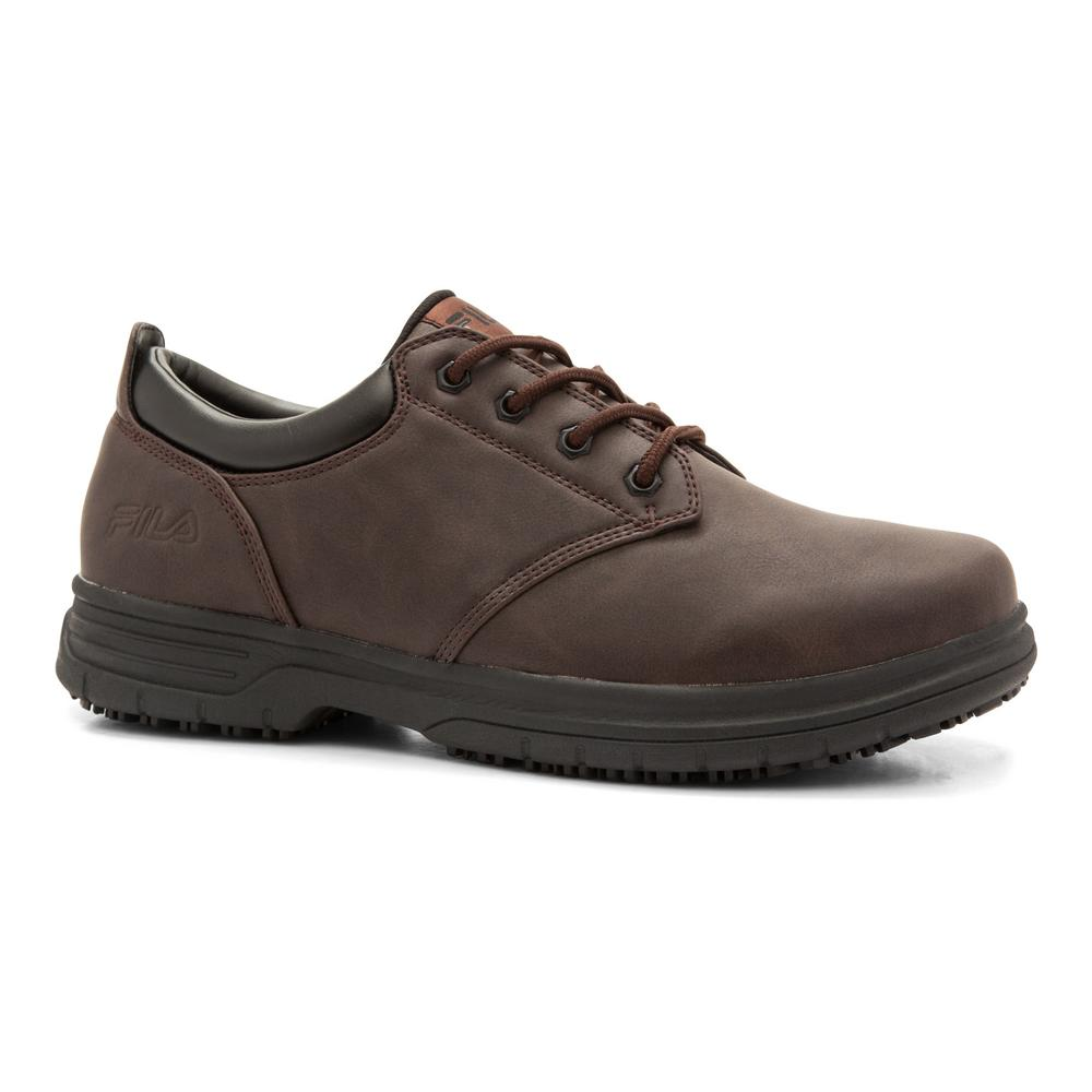 Fila Men's Memory Blake Slip Resistant Oxford Shoes Soft Toe Pinecone Size 11(M)