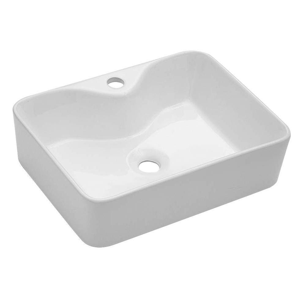 Matrix Decor Rectangle Ceramic Bathroom Vessel Sink In White With Faucet Hole Lmp18001 L The Home Depot