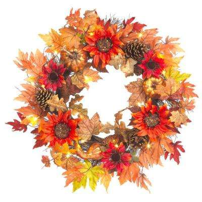 30 in. Pre-Lit Artificial Harvest Sunflower Wreath