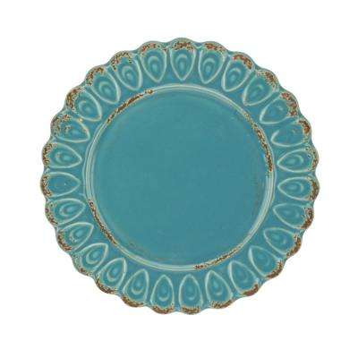 Worn Blue Ceramic Round Plate Candle Holder