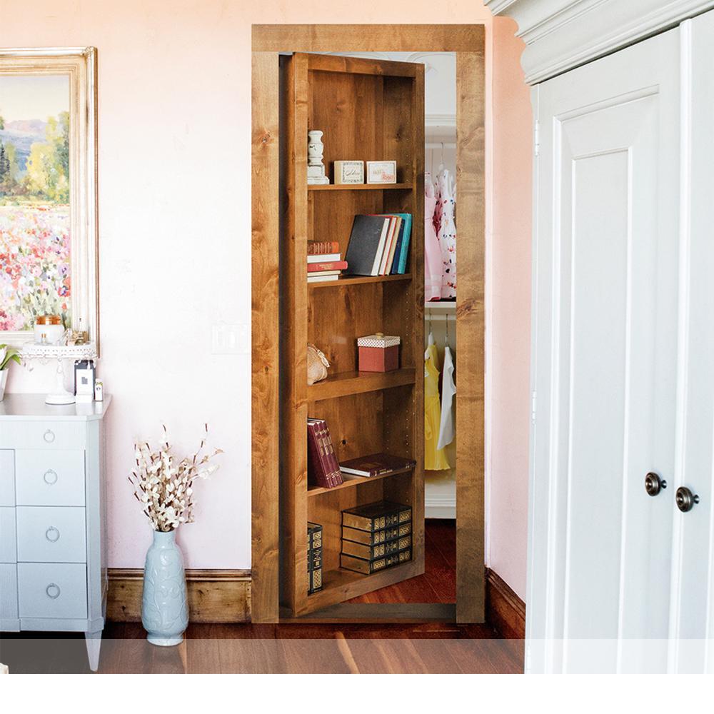Assembled Flush Mount Bookcase Door