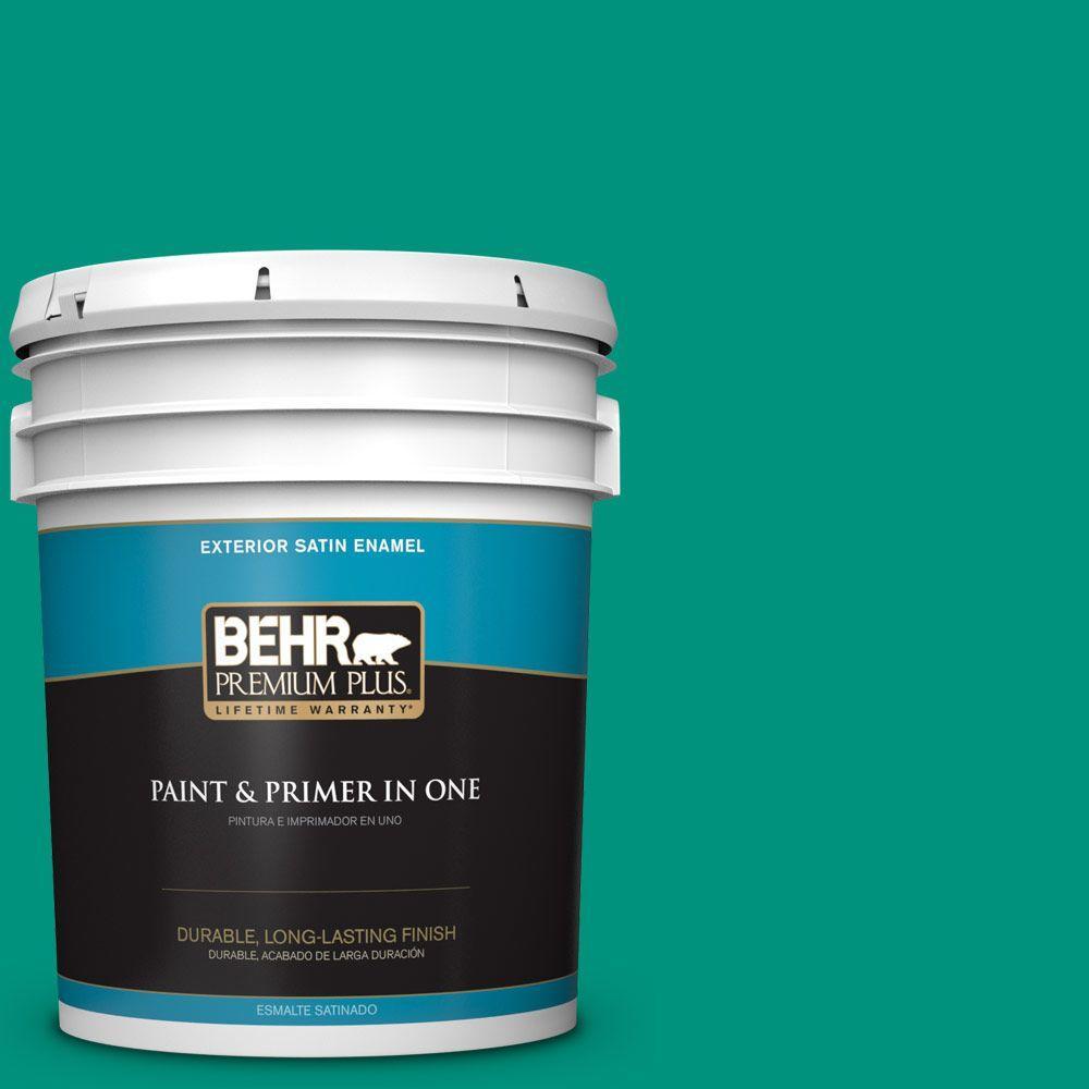 BEHR Premium Plus 5-gal. #S-G-480 Aqua Waters Satin Enamel Exterior Paint