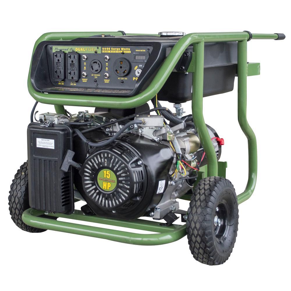 9,000-Watt/8,000-Watt Electric Start Dual Fuel Powered Portable Generator (Refurbished)