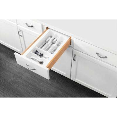 2.375 in. H x 11.5 in. W x 21.25 in. D Small White Cutlery Tray Drawer Insert