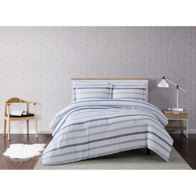 Waffle 3-Piece White/Blue Stripe Full/Queen Comforter Set