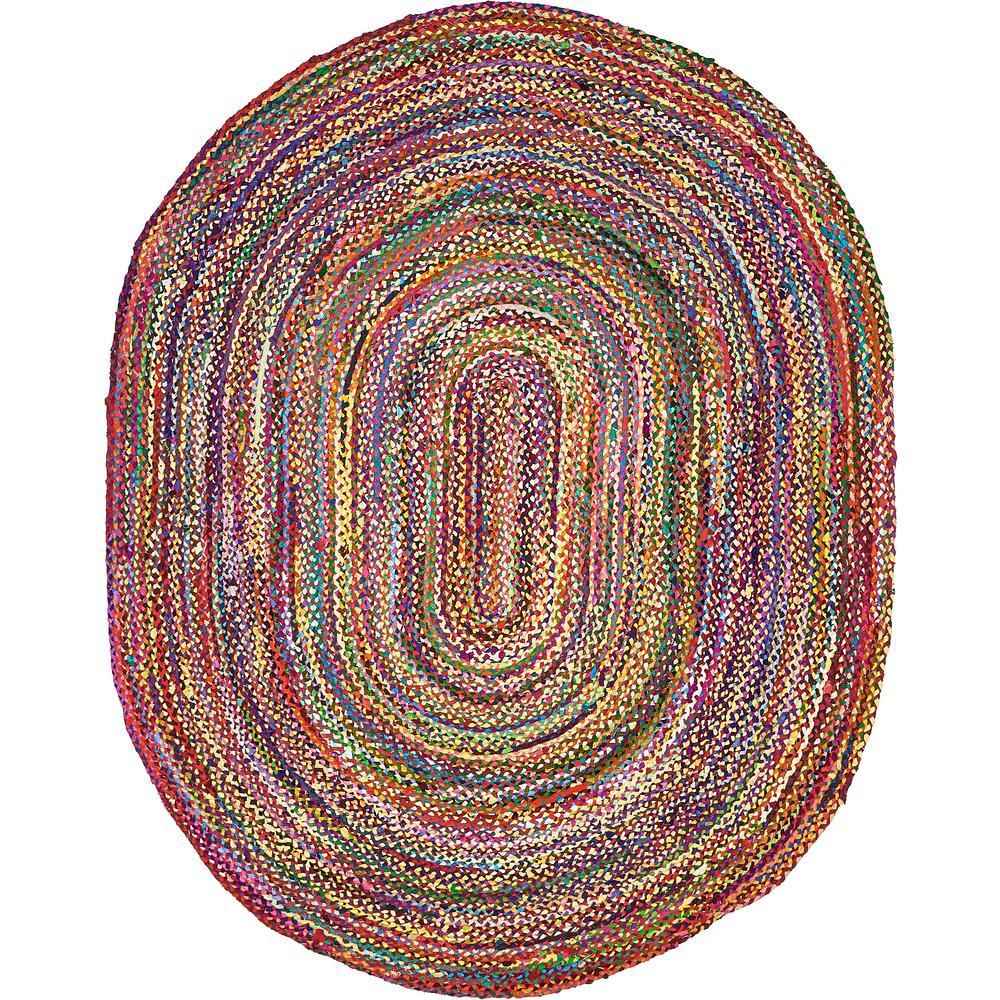 Unique Loom Braided Chindi Multi 8 Ft X 10 Oval Area Rug