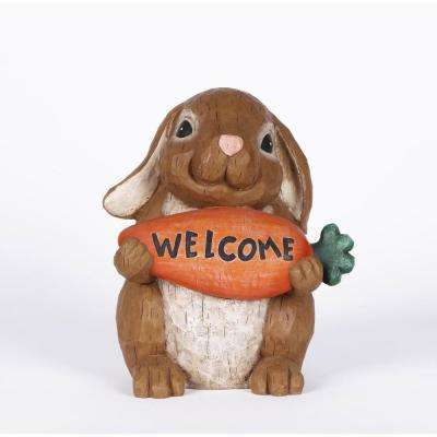 Rabbit Holding Carrot Welcome Sign Statue