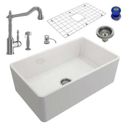 Classico All-in-One Farmhouse Fireclay 30 in. Single Bowl Kitchen Sink with Lesina Polished Chrome Faucet and Soap Disp