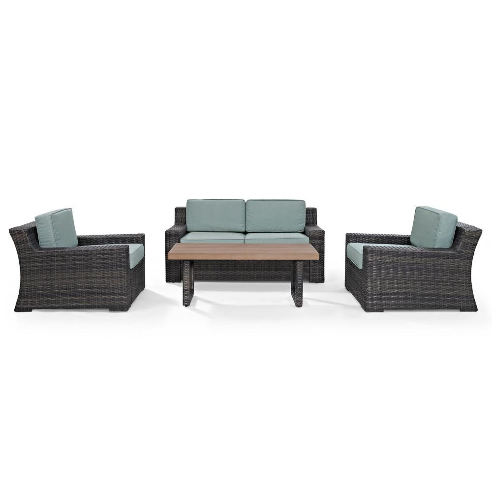 Phenomenal Crosley Beaufort 4 Piece Wicker Patio Outdoor Seating Set With Mist Cushion Loveseat 2 Chairs Coffee Table Beutiful Home Inspiration Aditmahrainfo