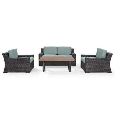 Beaufort 4-Piece Wicker Patio Outdoor Seating Set with Mist Cushion - Loveseat, 2-Chairs, Coffee Table