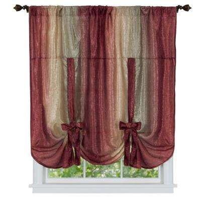 Semi-Opaque Ombre 50 in. W x 63 in. L Tie Up Shade Curtain in Burgundy