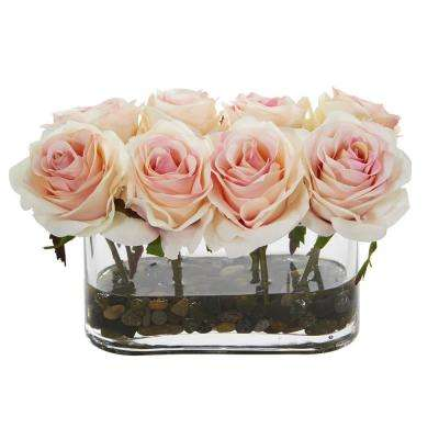 5.5 in. High Light Pink Roses Blooming Roses in Glass Vase Artificial Arrangement